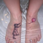 banksy balloon girl tattoo on feet