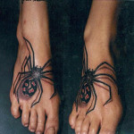 creepy 3d Spider tattoo on foot