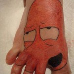 zoidberg tattoo on foot