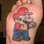 Mario Tattoo on bottom of foot
