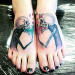 skeleton feet tattoo