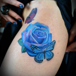 Blue-Rose-and-Butterfly-Thigh-Tattoos
