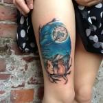 Moon-Cats-Thigh-Tattoo-done-by-Alena-Chun-in-Portland-Oregon