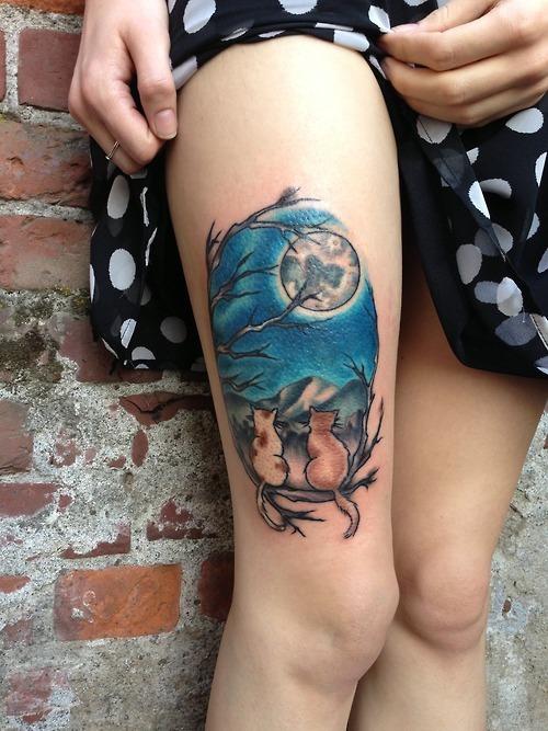 portland oregon tribal tattoo Cats Tattoo Thigh done Oregon Love  by Alena in Chun Portland Tattoo