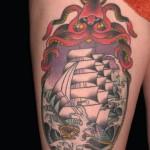 Pirate-Ship-Tattoo-On-Thigh