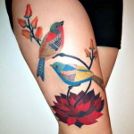 Summer-Theme-Thigh-Tattoo