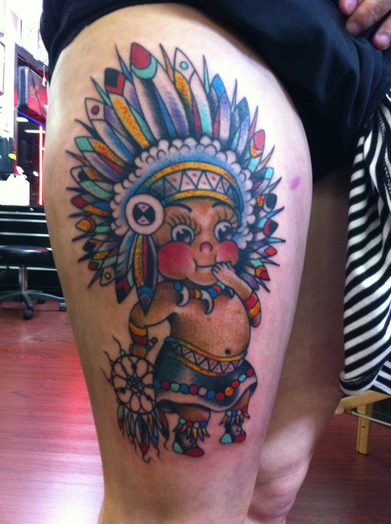 nativeamericanbabyboytattooonthigh tattoo love