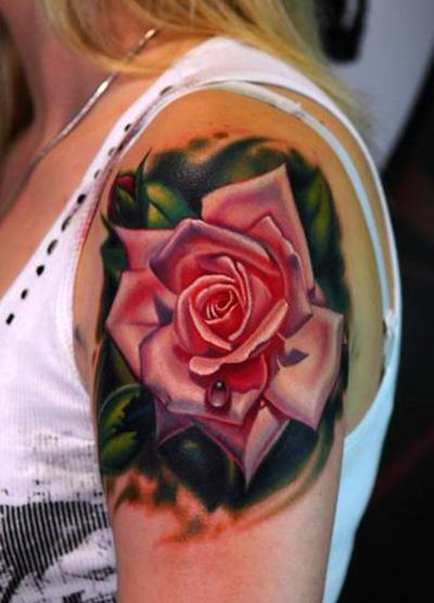 A-gorgeous-pink-rose-tattoo- Pink Rose Tattoos On Shoulder
