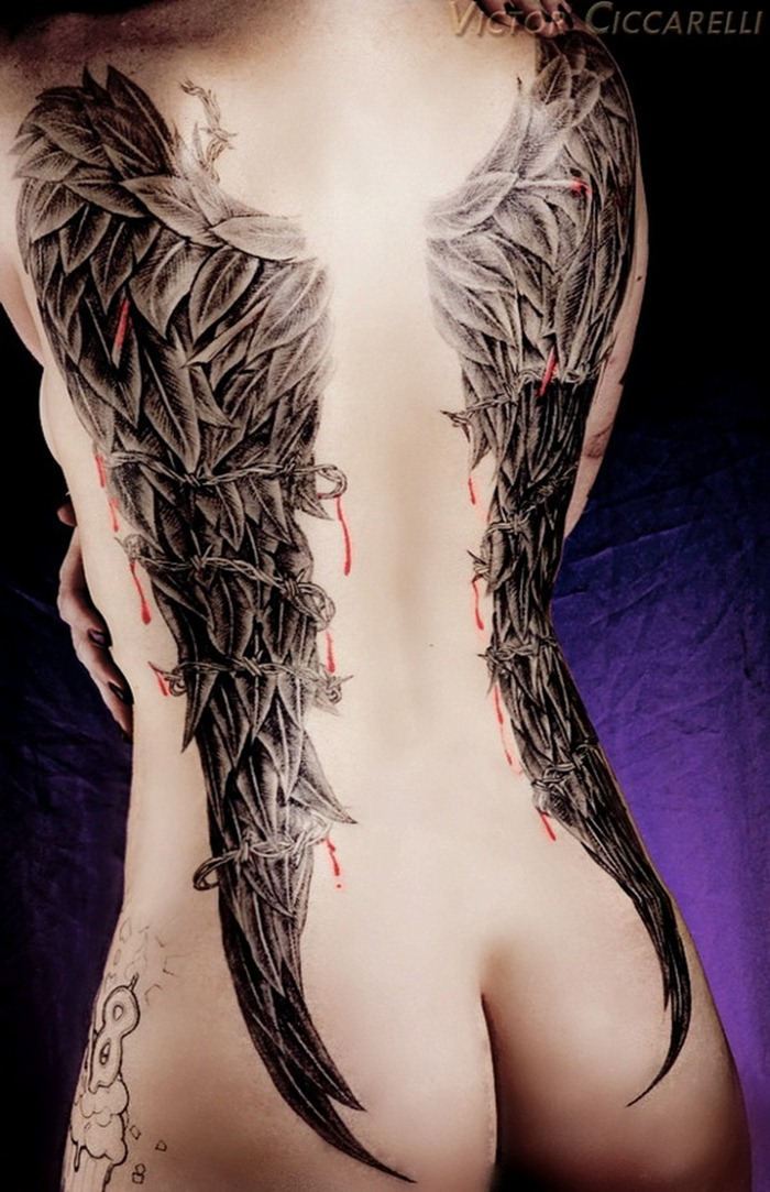 Angel Tattoo Designs Neck Angel Wing Tattoo Designs For