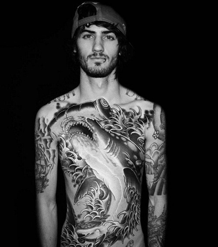 Body tattoo designs for men hammerhead chest tattoo love for Cool mens tattoos