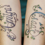 Script Lettering Tattoo swirls vines