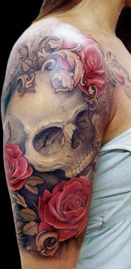 Skull and roses tattoos tattoo love for Skull love tattoos
