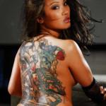 back skull tattoo women sexy
