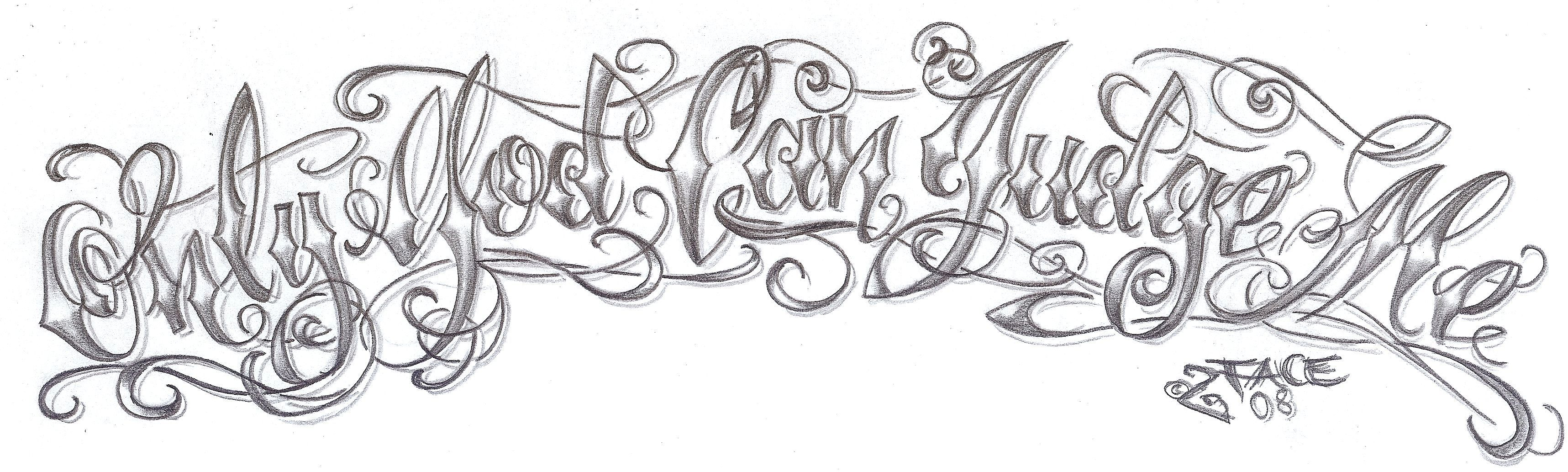 Chicano Lettering God Design By 2face Tattoo Fonts