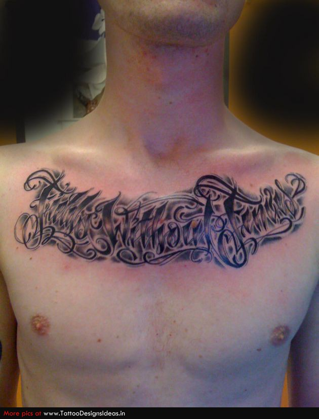 Chicano Lettering Tattoos Chest