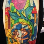 disney tattoos beauty and the beast glass art absolutely gorgeous