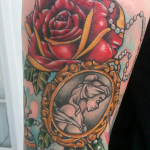 disney tattoos belle from beauty and the beast arm piece