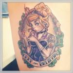 disney tattoos cute princess in frame