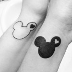disney tattoos matching mickey mouse outlines