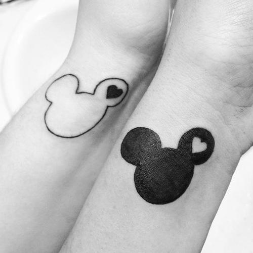 Disney tattoos matching mickey mouse outlines tattoo love for Disney temporary tattoos mickey mouse