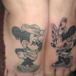 disney tattoos mickey minnie matching feet tattoos
