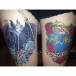 disney tattoos sleeping beauty and evil witch thigh pieces