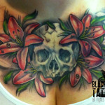 flower tattoo chest piecel lily