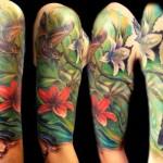 flower tattoo flower sleeve bat