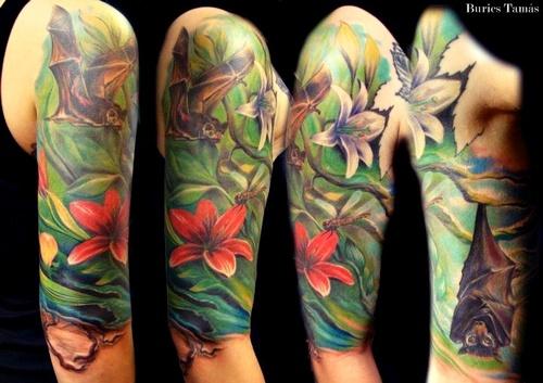Flower tattoo flower sleeve bat tattoo love for Bat sleeve tattoo