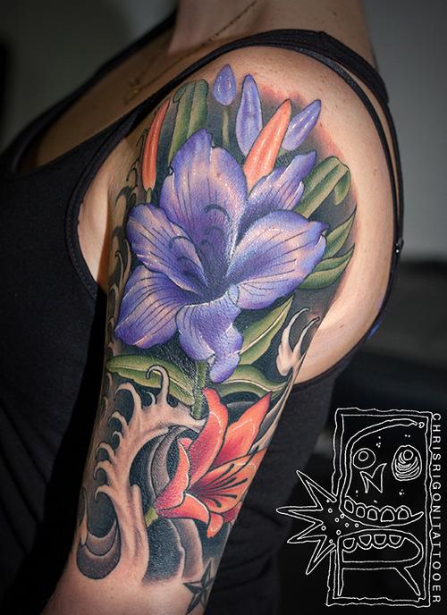 Purple Flower Tattoo Designs