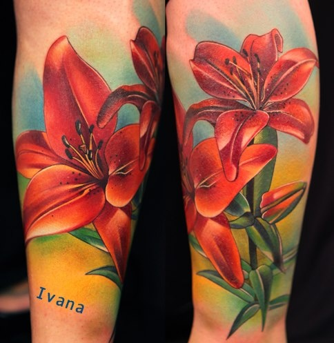 flower tattoo red lily