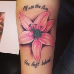 flower tattoo script and pink lily