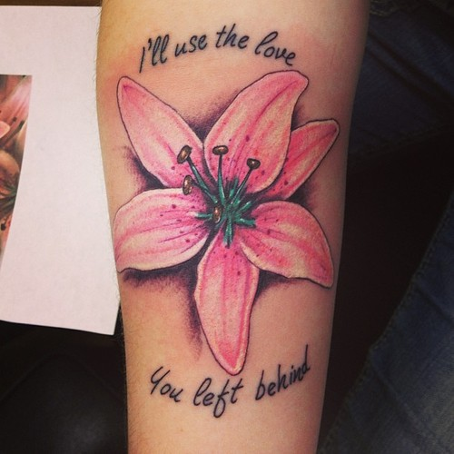 Flower tattoo script and pink lily tattoo love flower tattoo script and pink lily mightylinksfo