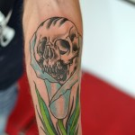 flower tattoo skull lily