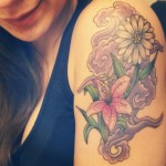 flower tattoo traditional daisy with purple fog