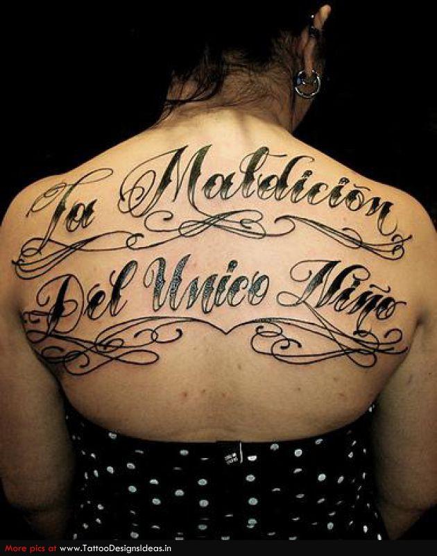 Large Lettering Tattoos Backpiece