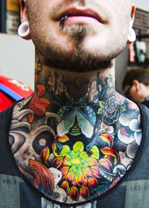 Neck and chest tattoos old school ink tattoo love for Chest and neck tattoos
