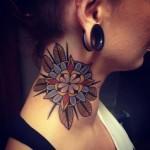 neck tattoo abstract mandala