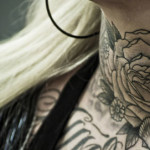 neck tattoo black and grey rose