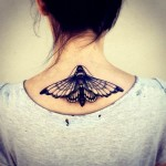 neck tattoo butterfly moth traditional