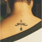 neck tattoo dainty arrow and floral pattern