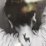 neck tattoo deer
