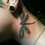 neck tattoo dragonfly tattoo