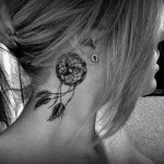 neck tattoo dreamcatcher behind ear