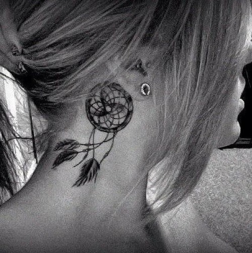 Neck tattoo dreamcatcher behind ear tattoo love for Tattoos behind the neck