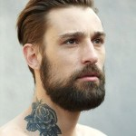 neck tattoo guy with beard and rose tattoo