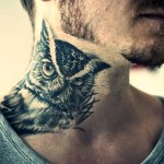 neck tattoo incredible owl