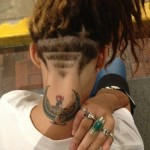 neck tattoo nefertiti or some sort of egyptian goddess