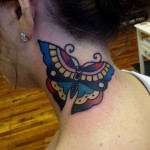 neck tattoo simple traditional butterfly