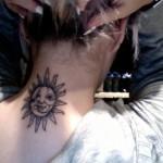 neck tattoo sun moon yin yang